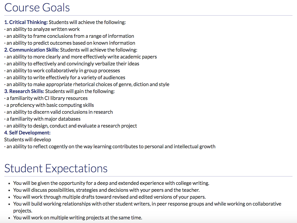 Course Roadmap - Course Goals and Student Expectations