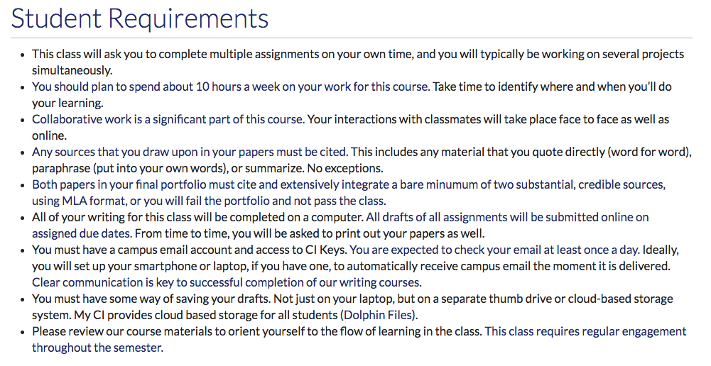Course Roadmap - Student Requirements